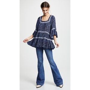 Free People Talk About It Tunic Top Boho Peasant